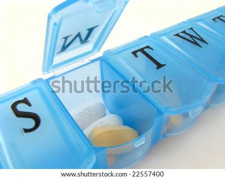 Blue Pill Box - stock photo