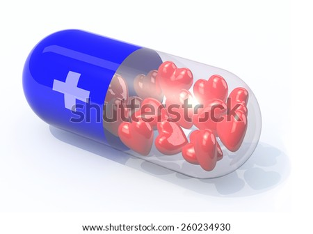 blue pill filled with hearts, isolated 3d illustration