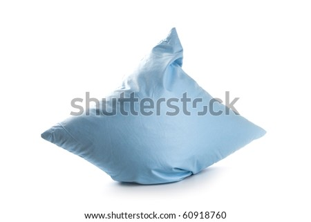 blue pillow isolated on white background - stock photo