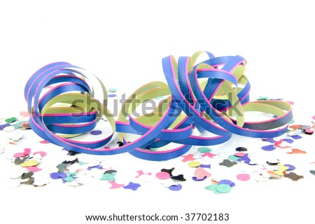 blue pink colored party streamer with confetti over white - stock photo