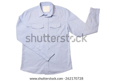 Blue pinstriped dress shirt isolated on white background - stock photo
