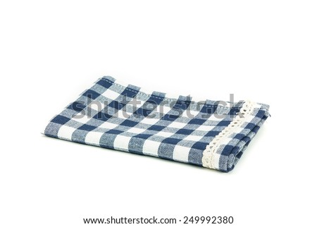 blue plaid table cloth isolated on white background. - stock photo