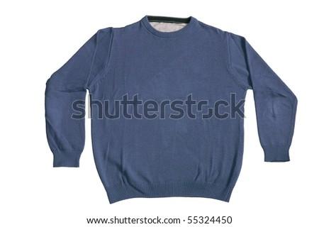 Blue plain sweater isolated on white background - stock photo