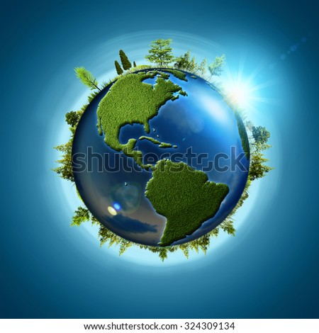 Blue planet. Abstract eco backgrounds with Earth globe and forest - stock photo