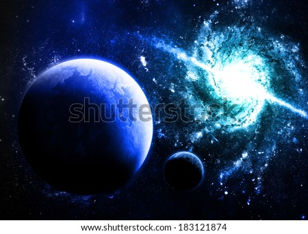 Blue Planet and Galaxy - Elements of this Image Furnished By NASA - stock photo
