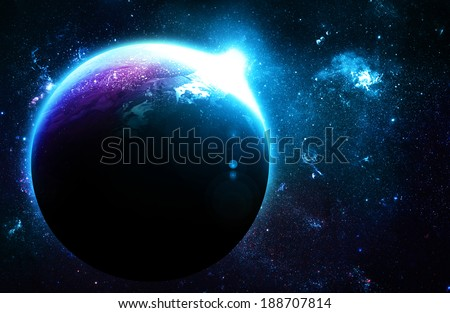 Blue Planet at Sunrise - Elements of this Image Furnished By NASA - stock photo