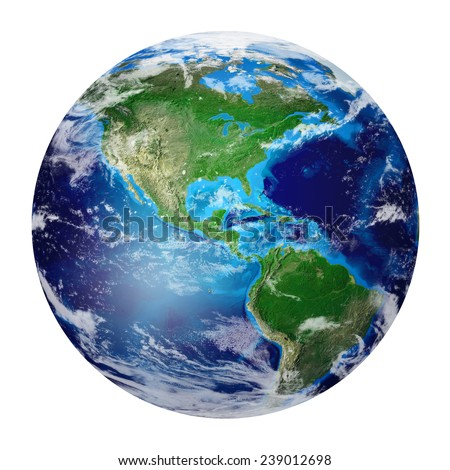 Blue Planet Earth from space showing North & South America, USA. Global World isolated on white background, Photo realistic 3D rendering with clipping path - Elements of this image furnished by NASA - stock photo