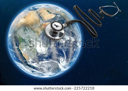 blue planet earth health and stethoscope diagnose Elements of this image furnished by NASA - stock photo