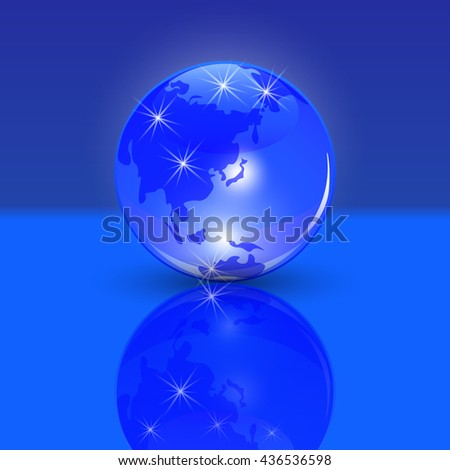 Blue planet earth. the land of the rising sun and the view. Stylized glossy ball with shadow and reflection. Raster illustration - stock photo