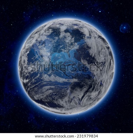 Blue Planet Earth with some clouds and stars in the dark sky. the North and South America path of global blue World in space. Elements of this image furnished by NASA - stock photo