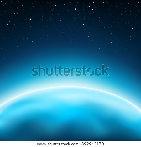 Blue planet horizon concept. Stars and space on background - stock photo