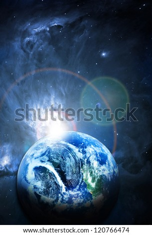 blue planet in beautiful space - stock photo