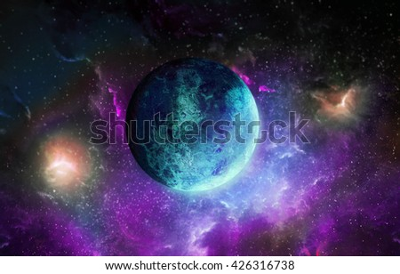 Blue planet on space background