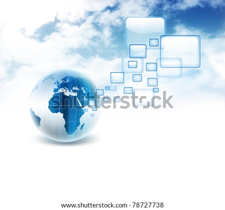 blue planet with transparent browser windows on the background of the cloudy sky - stock photo