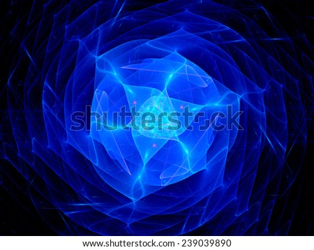 Blue plasma in space, computer generated abstract background - stock photo