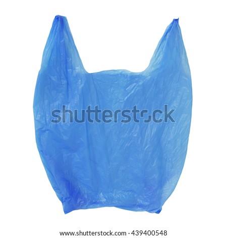 Blue Plastic bag empty isolated on white background - stock photo