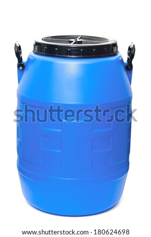 Blue plastic barrel isolated on white - stock photo