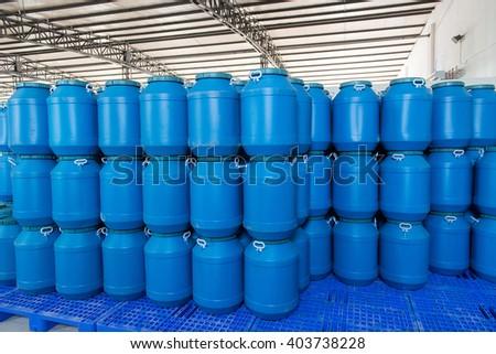 Blue Plastic barrels contain - stock photo