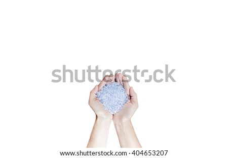 Blue Plastic beads on hands