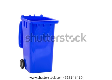 Blue plastic bin on white background with path - stock photo