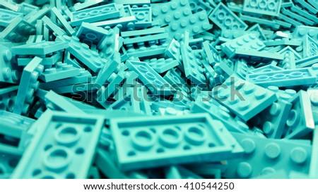 Blue plastic blocks - stock photo