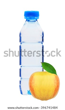 Blue plastic bottle of water and yellow apple isolated on white background - stock photo