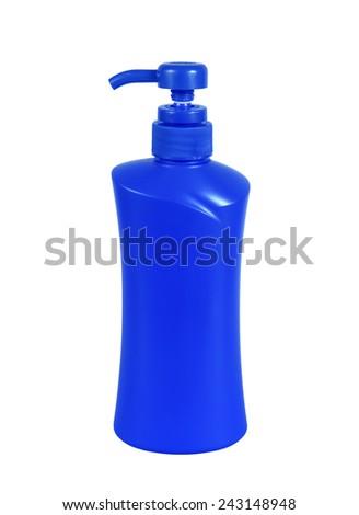blue plastic Bottle pump on white background - stock photo