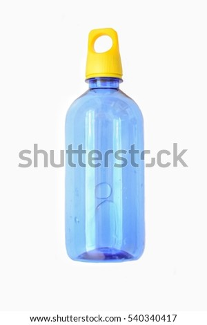 Blue plastic bottle with a yellow cap.