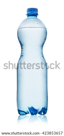 Blue plastic bottle with water drops isolated on white background