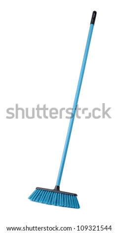 Blue plastic broom isolated on white - stock photo