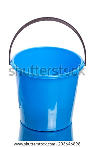 Blue plastic bucket  isolated on a white background - stock photo