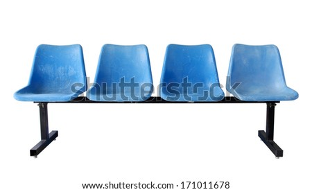 blue plastic chairs isolated on white with clipping path - stock photo