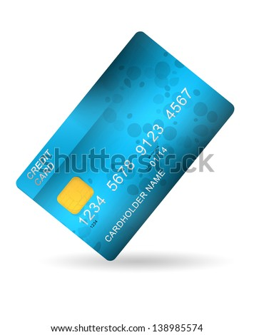 blue plastic credit card isolated on white background - stock photo