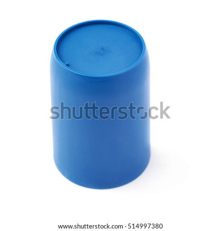 Blue plastic cup glass isolated over white background