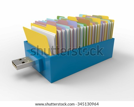 Blue plastic flash pen stick with drawer of folders, isolated on white background. 3D Render graphic - stock photo