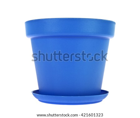 Blue plastic flower pots on white background