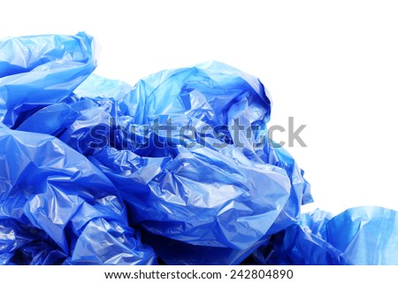 Blue plastic garbage bags on a white background