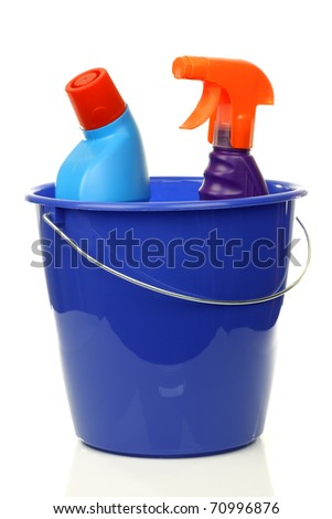 blue plastic household bucket with two cleaning bottles on a white background - stock photo