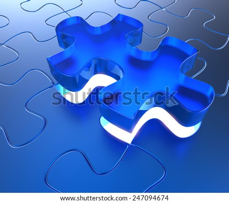 Blue plastic jigsaw puzzle with an outstending transparent blue piece.  Education concept - 3d render - stock photo