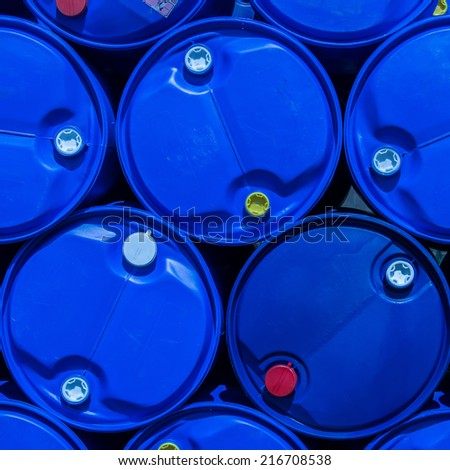 Blue plastic oil tank - stock photo