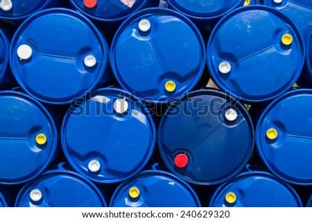 Blue plastic oil tank - stock photo