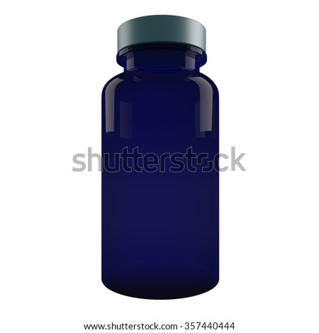 Blue Plastic Pill Bottle  isolated on white background - stock photo
