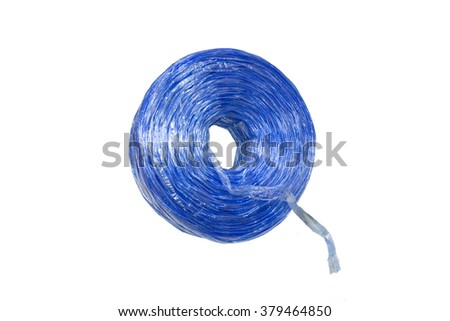 Blue plastic rope isolated on white background