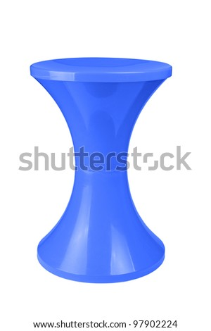 Blue  plastic stool isolated on white background - stock photo