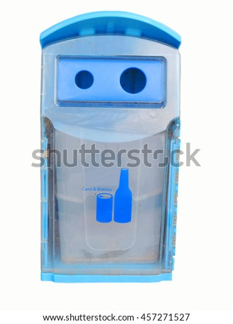 Blue plastic trash bins, recycle bins , Cans and bottles,on white background.