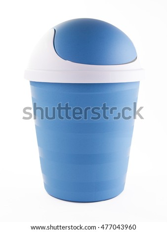 Blue plastic  trash can on white background