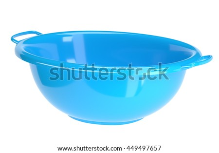 Blue plastic washbowl isolated on white background, 3D rendering
