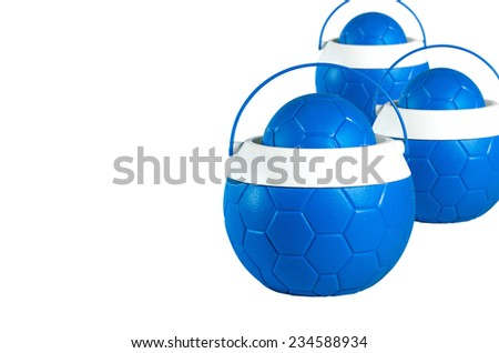 Blue plastic water canteens circle or Plastic ice bucket on whit