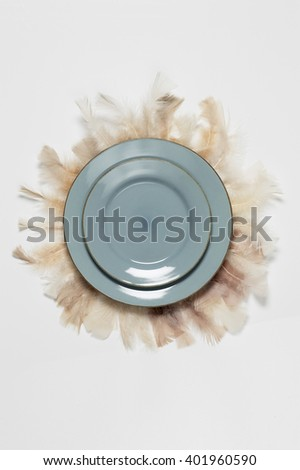 Blue plate and feathers on white background