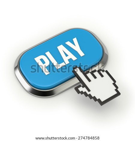 Blue play button with metallic border on white background